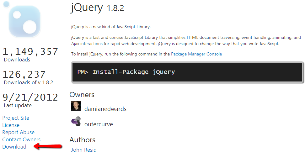 Download a NuGet packages from the Gallery