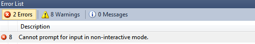 Cannot prompt for input in non-interactive mode